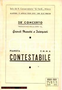 1939 MILANO Conservatorio VERDI Concerto pianista Emma CONTESTABILE *Programma