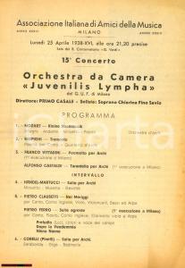 1938 MILANO Concerto JUVENILIS LYMPHA Soprano Chiarina FINO SAVIO *Programma
