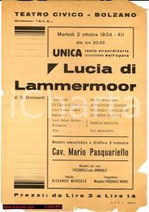 1934 TEATRO CIVICO BOLZANO 'Lucia di Lammermoor' con Mario PASQUARIELLO