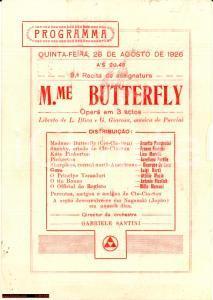 1926 RIO DE JANEIRO Compagnia Lirica OTTAVIO SCOTTO *Volantino Madame Butterfly
