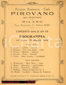 1922 MILANO pasticceria Pirovano programma concerto