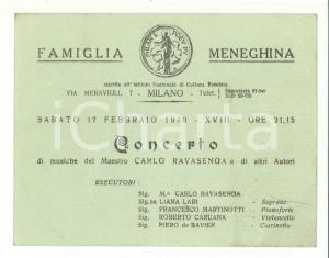 1940 MILANO FAMIGLIA MENEGHINA concerto Carlo Ravasenga
