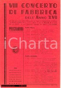1938 SESTO SAN GIOVANNI Ercole MARELLI - Concerto di fabbrica Leopoldo GENNAI