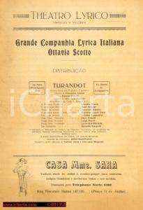 1926 RIO DE JANEIRO Compagnia Lirica OTTAVIO SCOTTO *Volantino Turandot