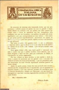 1926 RIO DE JANEIRO Compagnia Lirica OTTAVIO SCOTTO