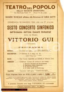 1924 MILANO Teatro del Popolo Concerto maestro Vittorio GUI *Programma