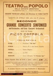 1924 MILANO Concerto maestro Piero COPPOLA al Teatro del Popolo *Programma