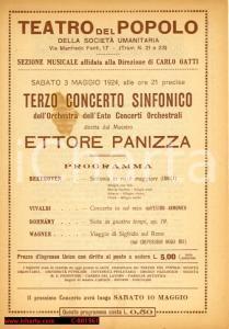 1924 MILANO Concerto maestro Ettore PANIZZA al Teatro del Popolo *Programma