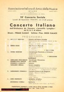 1938 MILANO Concerto Orchestra JUVENILIS LYMPHA Maestro Primo CASALE *Programma