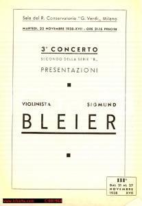 1938 MILANO Concerto Sigmund BLEIER Otto GRAEF Regio Conservatorio *Programma