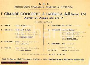 1938 MILANO Compagnia Generale di Elettricità - Concerto di fabbrica Aldo ZEETTI