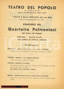 1940 MILANO Teatro del Popolo Concerto QUARTETTO POLTRONIERI con Gilberto CREPAX