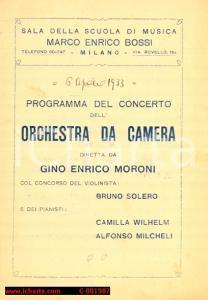 1933 MILANO Scuola di musica BOSSI Concerto orchestra di Gino Enrico MORONI