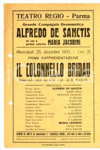 1935 TEATRO REGIO PARMA Prima de Il colonnello BRIDAU