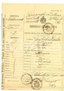1921 NICORVO Foglio di via indigente Emilio GUGLIELMI