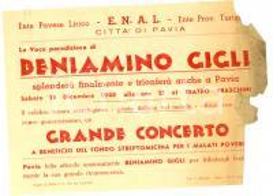 1948 PAVIA Concerto Beniamino GIGLI pro malati poveri