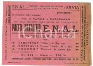 1950 ENAL PAVIA Pacco natalizio e calza bimbi Volantino
