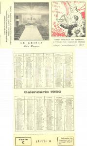 1950 ROMA Tempio Perpetuo Suffragio Caduti di Guerra *Calendario per offerte