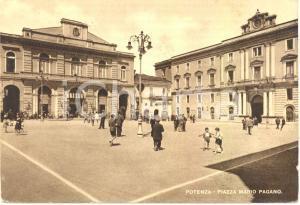 1954 POTENZA Scorcio di piazza Mario PAGANO *Cartolina ANIMATA FG VG