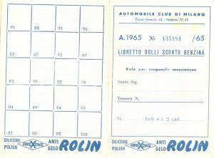 1965 MILANO AUTOMOBILE CLUB Libretto bolli sconto benzina antigelo ROLLIN