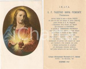 1947 TRIESTE Padre Faustino Maria PIEMONTE trasferito in GUATEMALA *Santino