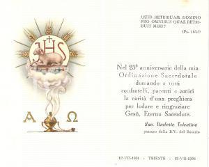 1956 TRIESTE Beata Vergine Rosario Don Umberto TOLENTINO 25° Sacerdozio *Santino