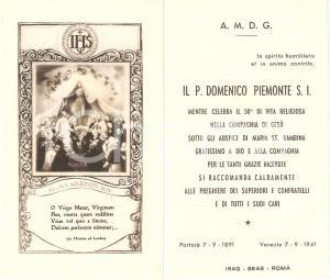 1941 VENEZIA Padre Domenico PIEMONTE 50° Anniversario di sacerdozio *Santino
