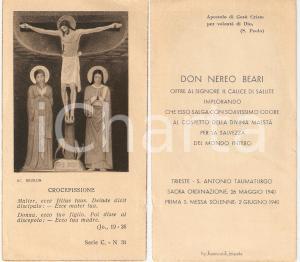 1940 TRIESTE Chiesa SANT'ANTONIO TAUMATURGO Prima messa Don Nereo BEARI *Santino