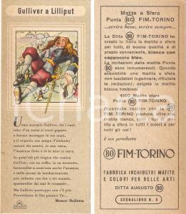 1950 ca TORINO - Matite BO FIM Segnalibro pubblicitario GULLIVER a Lilliput