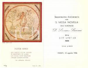 1956 TRIESTE Don Luciano LUCIANI di ALBONA Sessantesimo messa novella *Santino