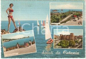 1961 CATANIA Pin-up sugli scogli e vedutine della città *Cartolina FG VG