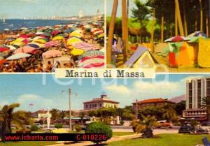 1962 MARINA DI MASSA (MS) Vedutine e spiaggia affollata *Cartolina ANIMATA FG VG