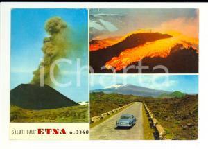 1971 ENNA Vedutine con eruzione ETNA *Cartolina ANIMATA VINTAGE FG VG