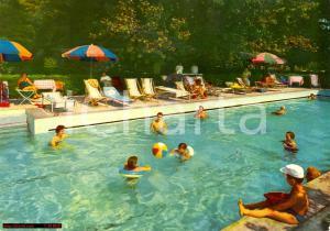 1963 ABANO TERME (PD) Hotel Terme MILANO Piscina termale Cartolina VINTAGE FG VG