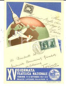 1941 TORINO XV Giornata Filatelica Nazionale *Cartolina FG VG timbro