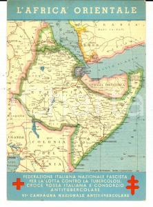 1936 Cartolina AFRICA ORIENTALE *VI Campagna Antitubercolare CROCE ROSSA