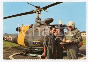 1980 ca AERONAUTICA Elicottero Agusta Bell AB 204-B con equipaggio *Cartolina FG