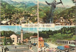 1975 ca RECOARO TERME (VI) Nonno e nipote sul sagrato della chiesa *Cartolina FG