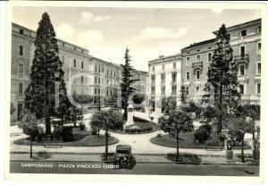 1950 CAMPOBASSO Piazza VINCENZO CUOCO ANIMATA con automobile *Cartolina FG VG