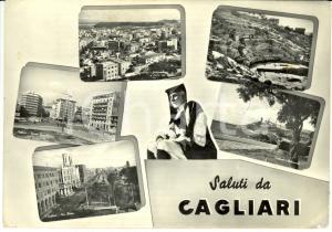 1957 CAGLIARI  Vedutine con  ANFITEATRO ROMANO e CALAMOSCA *Cartolina FG VG
