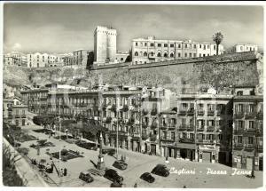 1954 CAGLIARI Veduta di piazza JENNE *Cartolina ANIMATA FG VG