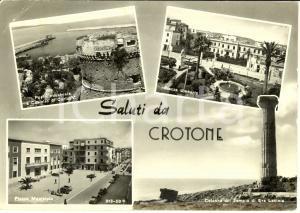 1960 CROTONE Vedutine con porto Industriale e castello *Cartolina FG VG