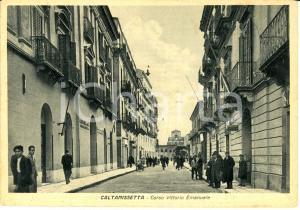 1942 CALTANISSETTA Corso VITTORIO EMANUELE e chiesa della BADIA *Cartolina FG NV