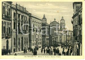 1943 CALTANISSETTA BANCO di SICILIA e BANCA D'ITALIA *Cartolina ANIMATA FG VG