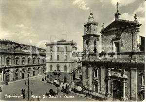 1958 CALTANISSETTA Piazza GARIBALDI e DUOMO *Cartolina ANIMATA FG VG