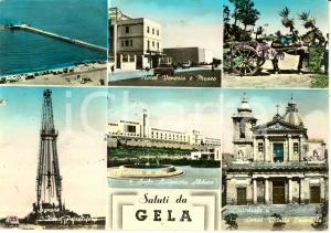 1959 GELA (CL) Vedutine con Piana del SIGNORE e HOTEL VENEZIA *Cartolina FG VG