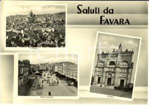 1952 FAVARA (AG) Vedutine con piazza CAVOUR e duomo * Cartolina ANIMATA FG VG