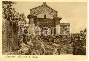 1939 AGRIGENTO Chiesa di SAN NICOLA con cactus * Cartolina ANIMATA FG NV