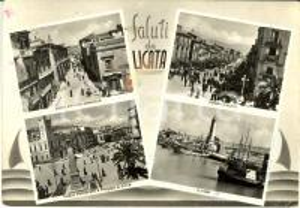 1955 ca LICATA (AG) Vedutine con piazza PROGRESSO faro *Cartolina ANIMATA FG VG
