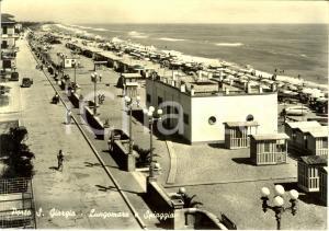 1956 PORTO SAN GIORGIO (FM) Veduta lungomare e spiaggia *Cartolina ANIMATA FG VG
